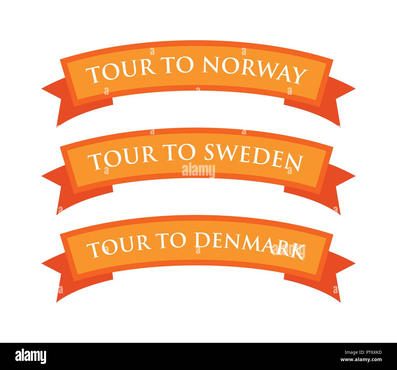 Tour to Norway, Sweden and Denmark - Stock Vector