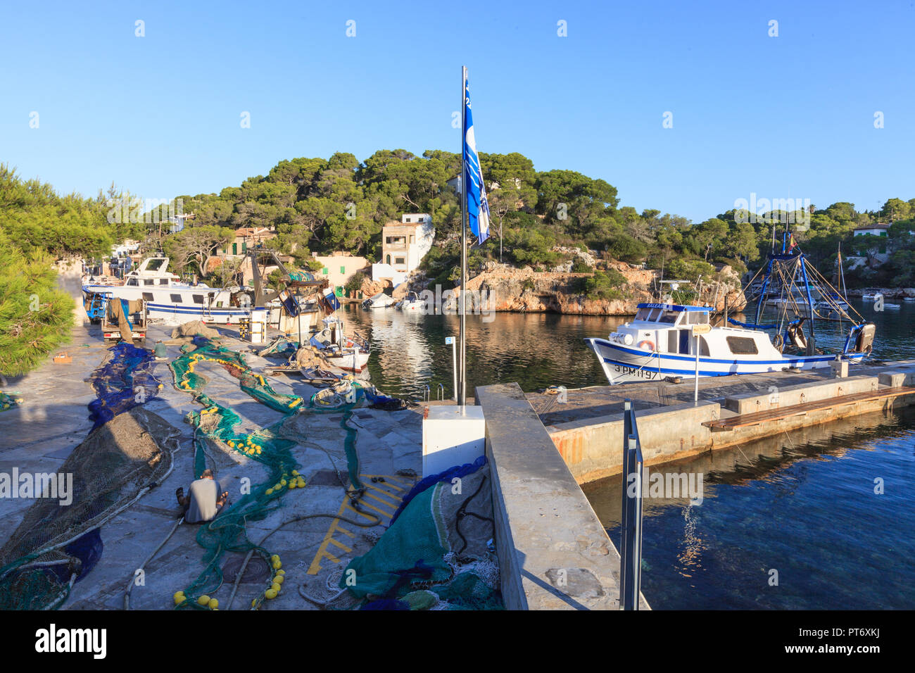 Early in the morning in the port of Cala Figuera, Santanyi, Europe, Spain, Mallorca, Cala Figuera, Santanyi, Balearic Islands, Spain, Mediterranean Se Stock Photo