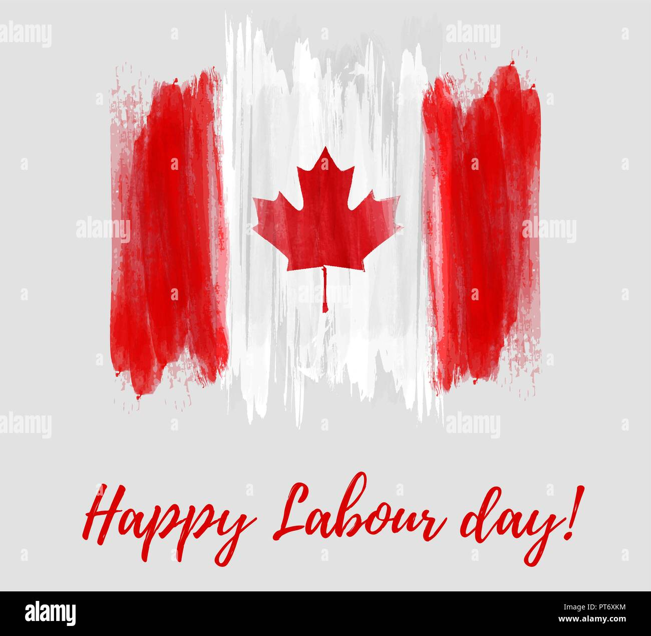 Canada Happy Labour Day Grunge Watercolor Canadian Flag Background