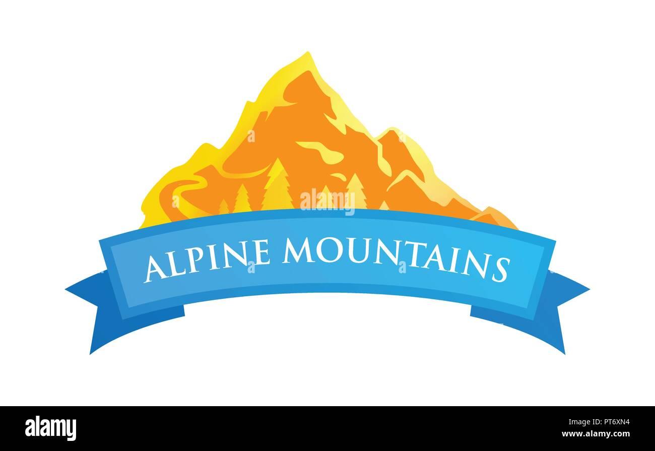 Alpine Mountains Emblem - Stock Image