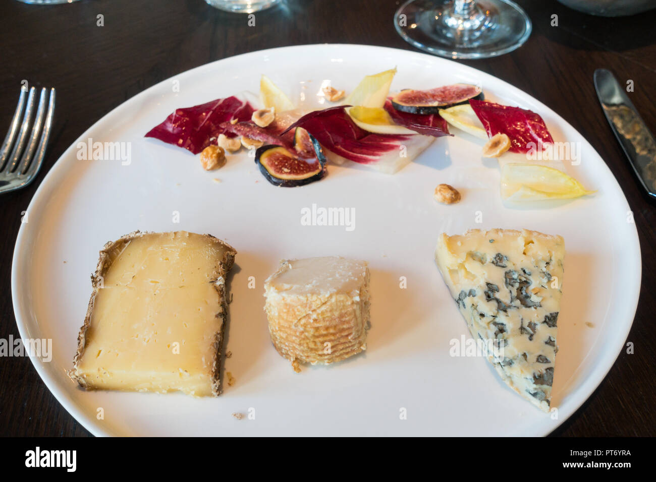 Lunch dishes at the Roux at the landau inThe Langham Hotel, UK.Cheese plate. Stock Photo