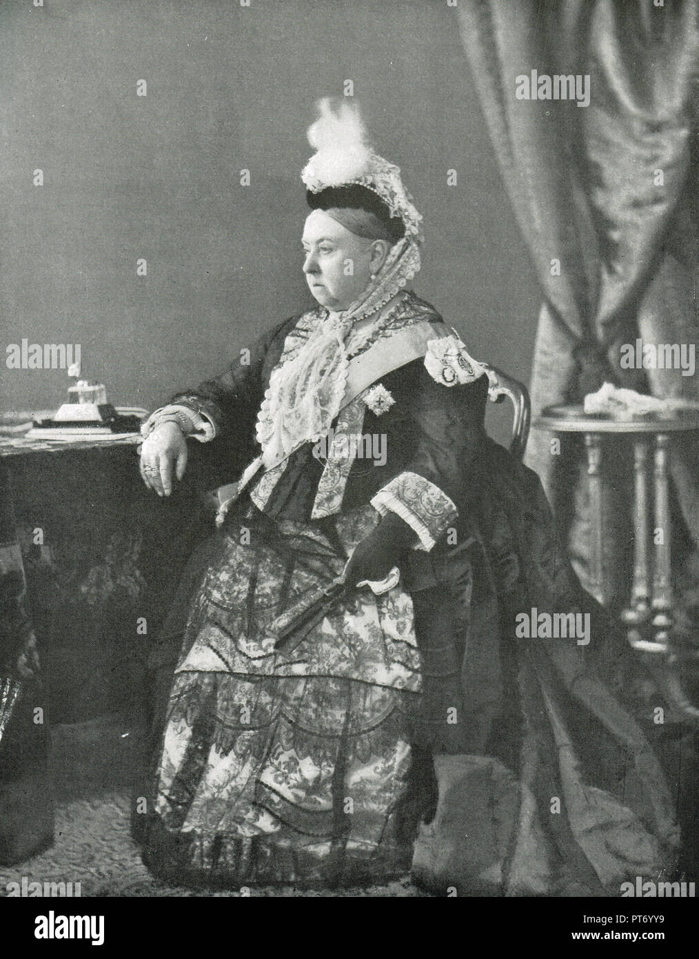 Queen Victoria, 1887, wearing the dress she wore at the service on her Golden Jubilee - Stock Image