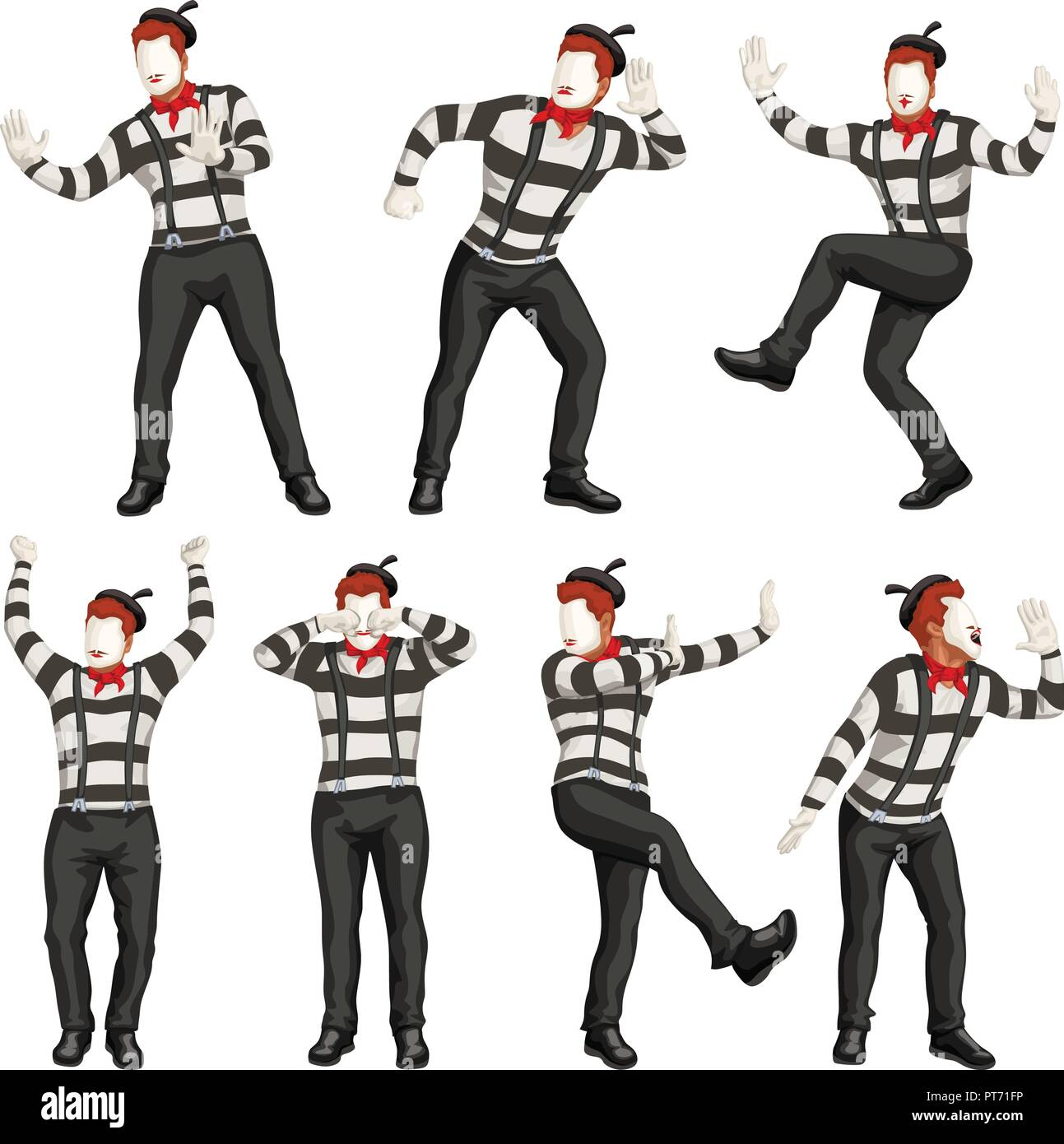 male mime set - Stock Vector