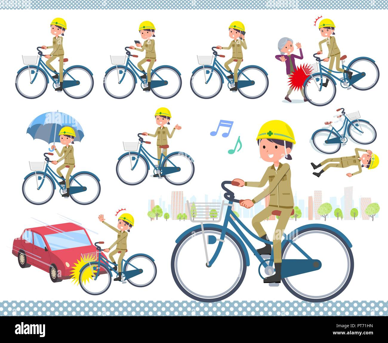 A set of working women riding a city cycle.There are actions on manners and troubles.It's vector art so it's easy to edit. - Stock Vector
