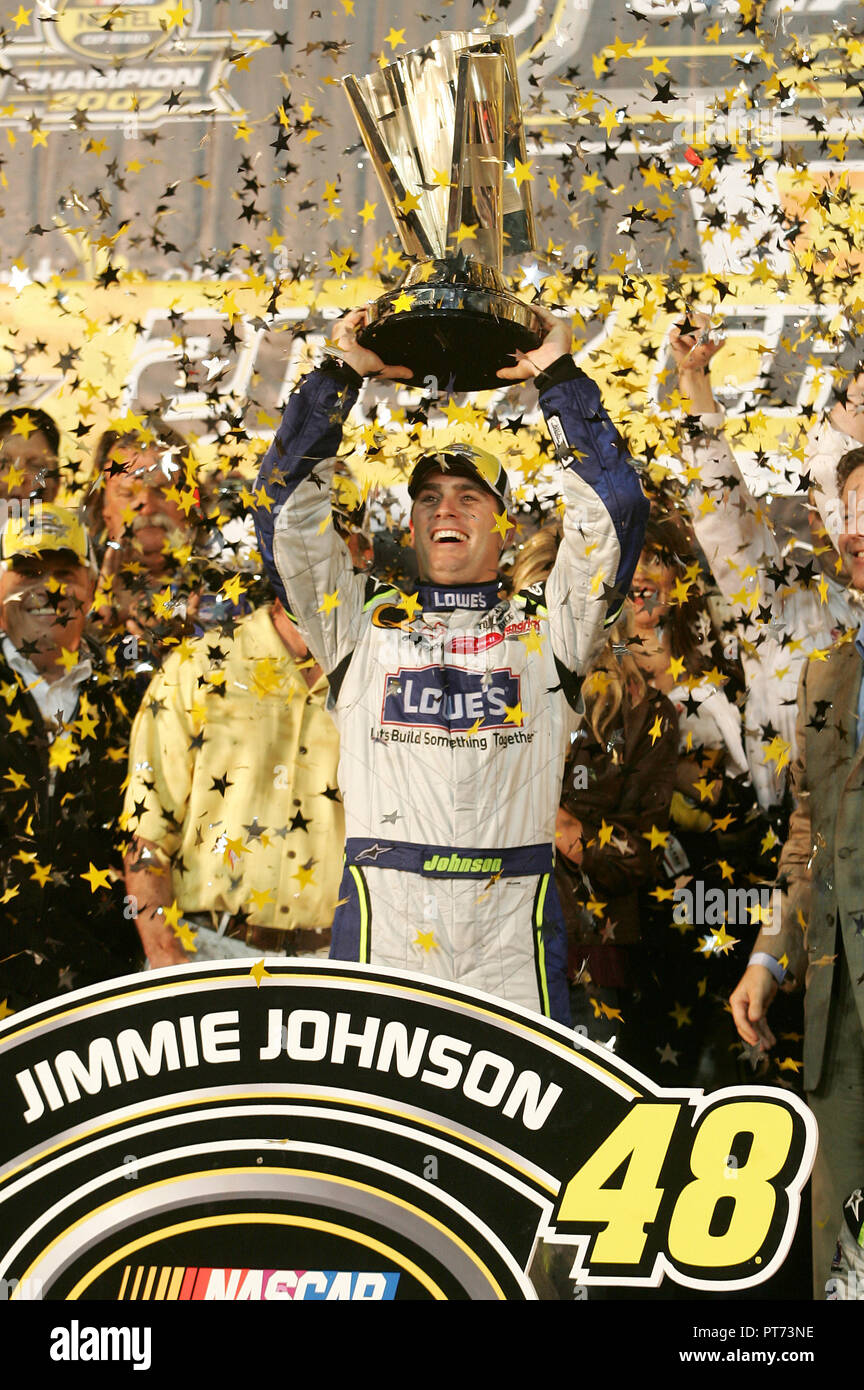 Jimmie Johnson Celebrates Winning The 2007 NASCAR Nextel Cup Championship After Finishing Seventh In Ford 400 At Homestead Miami Speedway