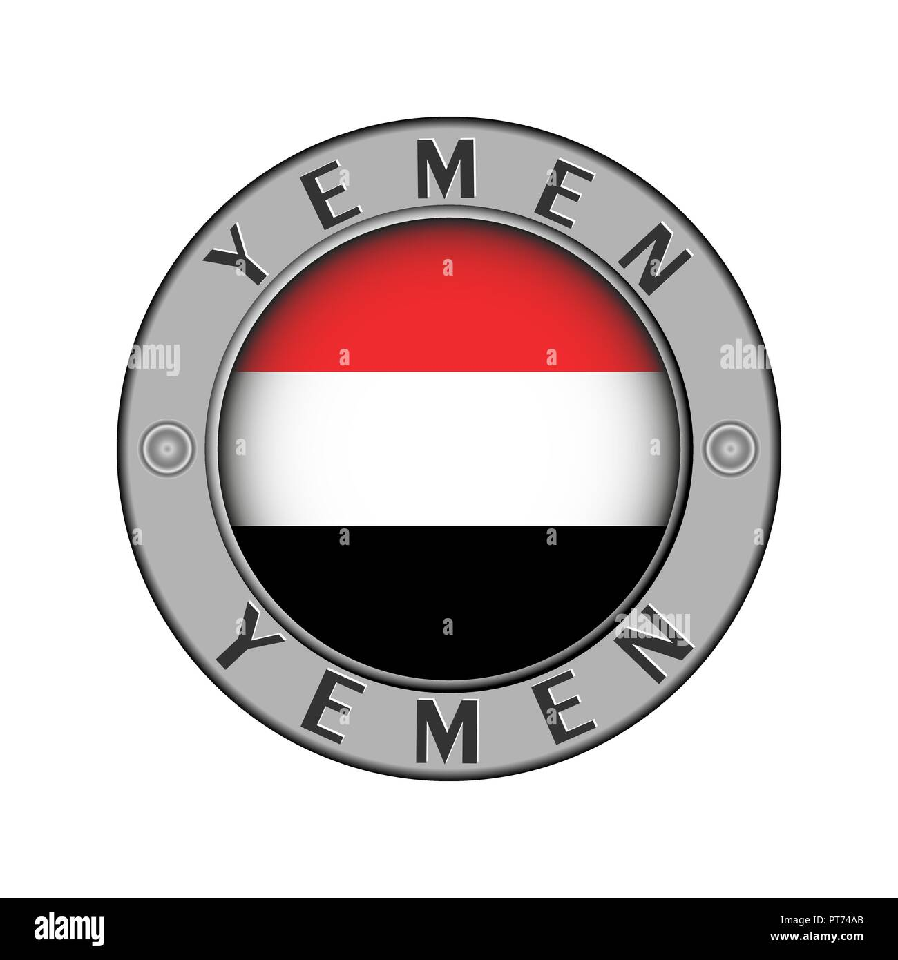 Round metal medallion with the name of the country Yemen and a round flag in the center - Stock Vector