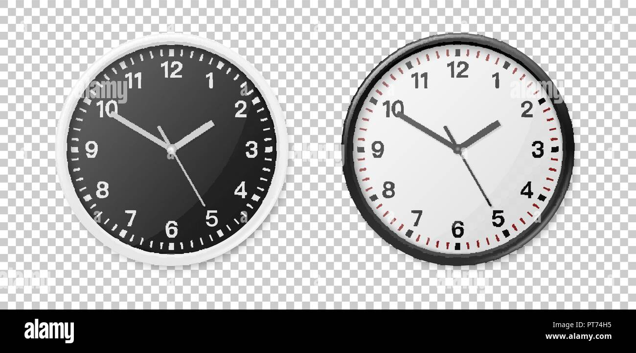 Realistic White and Black Wall Office Clock Icon Set  Design