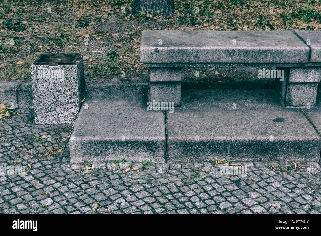 Berlin, Germany, October 06, 2018:  Close-Up of Stone Bench at Park - Stock Image