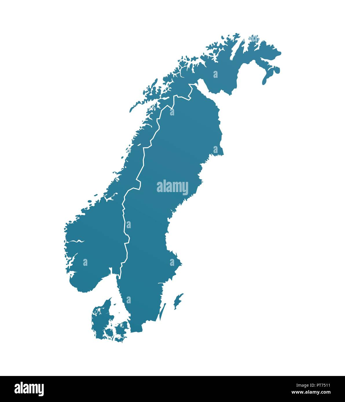 Vector Illustration with Silhouette of Scandinavia - Stock Image