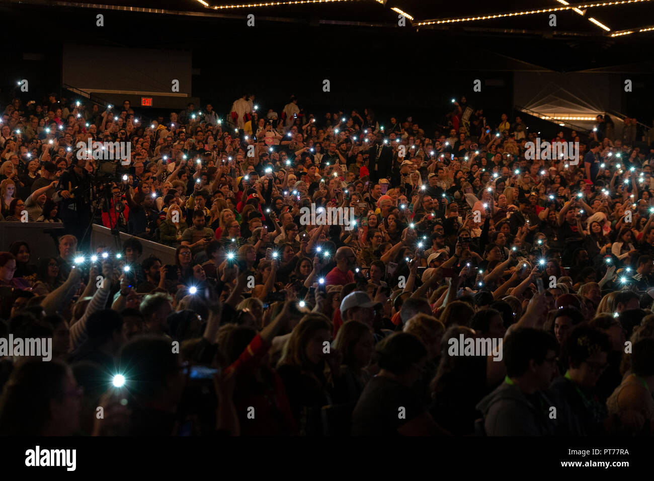 New York, NY - October 6, 2018: Atmosphere during Amazon Prime Good Omens panel at New York Comic Con at Hulu Theater at Madison Square Garden - Stock Image