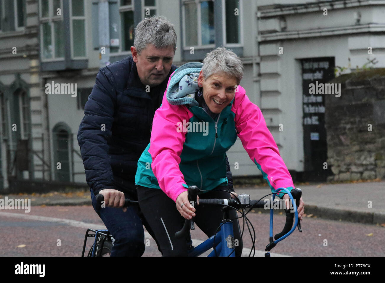 Belfast, Northern Ireland, UK. 07 October 2018. The fourth Ciclovia event was held in Belfast city centre this morning. The Health and Community based initiative is open to people of all ages and abilities and with the route closed to traffic the cyclists were able to ride through the traffic-free zone in the city centre. Credit: David Hunter/Alamy Live News. - Stock Image