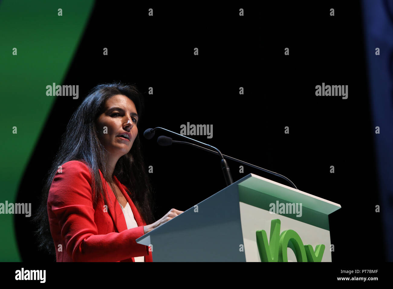 Madrid, Spain. 7th Oct 2018. ROCIO MONASTERIO, the president of VOX Madrid, participating in the event. The far-right political party Vox has crowded this Sunday the 'Palacio de Vistalegre' in a massive event that has attended, according to the organisers, 10,000 people, and in which they have presented their 100 urgent measures for Spain on Oct 7, 2018 in Madrid, Spain Credit: Jesús Hellin/Alamy Live News - Stock Image