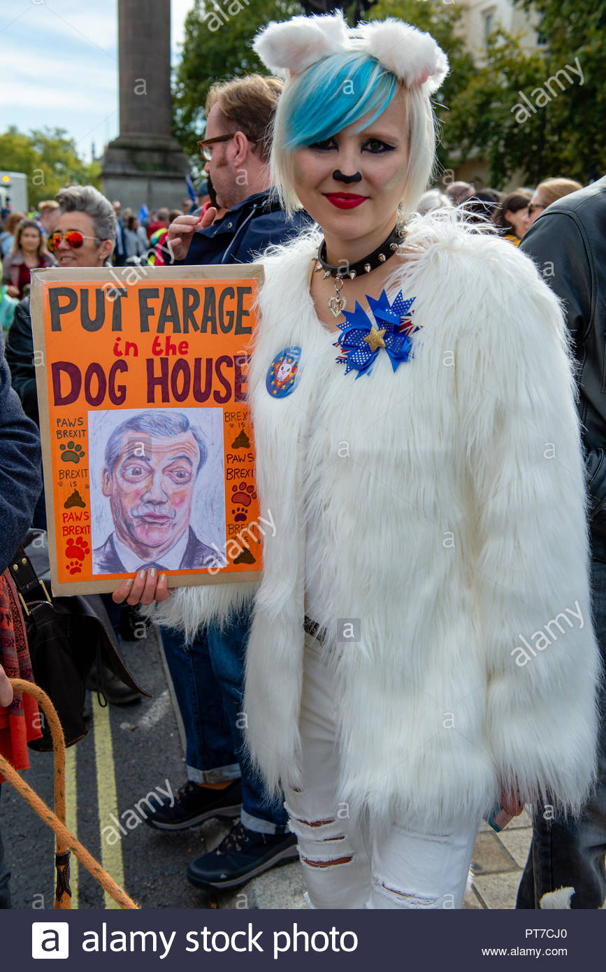 London, UK. 7th Oct 2018. Dog owners gather for a massive 'walkies' to protest against Brexit.   This fun event organised by Wooferendum was entirely self funded. Supporters include Dominic Dyer, Stella Creasy MP, and Felicity Kendall.  London, Great Britain, 07 Oct 2018 Credit: David Nash/Alamy Live News - Stock Image