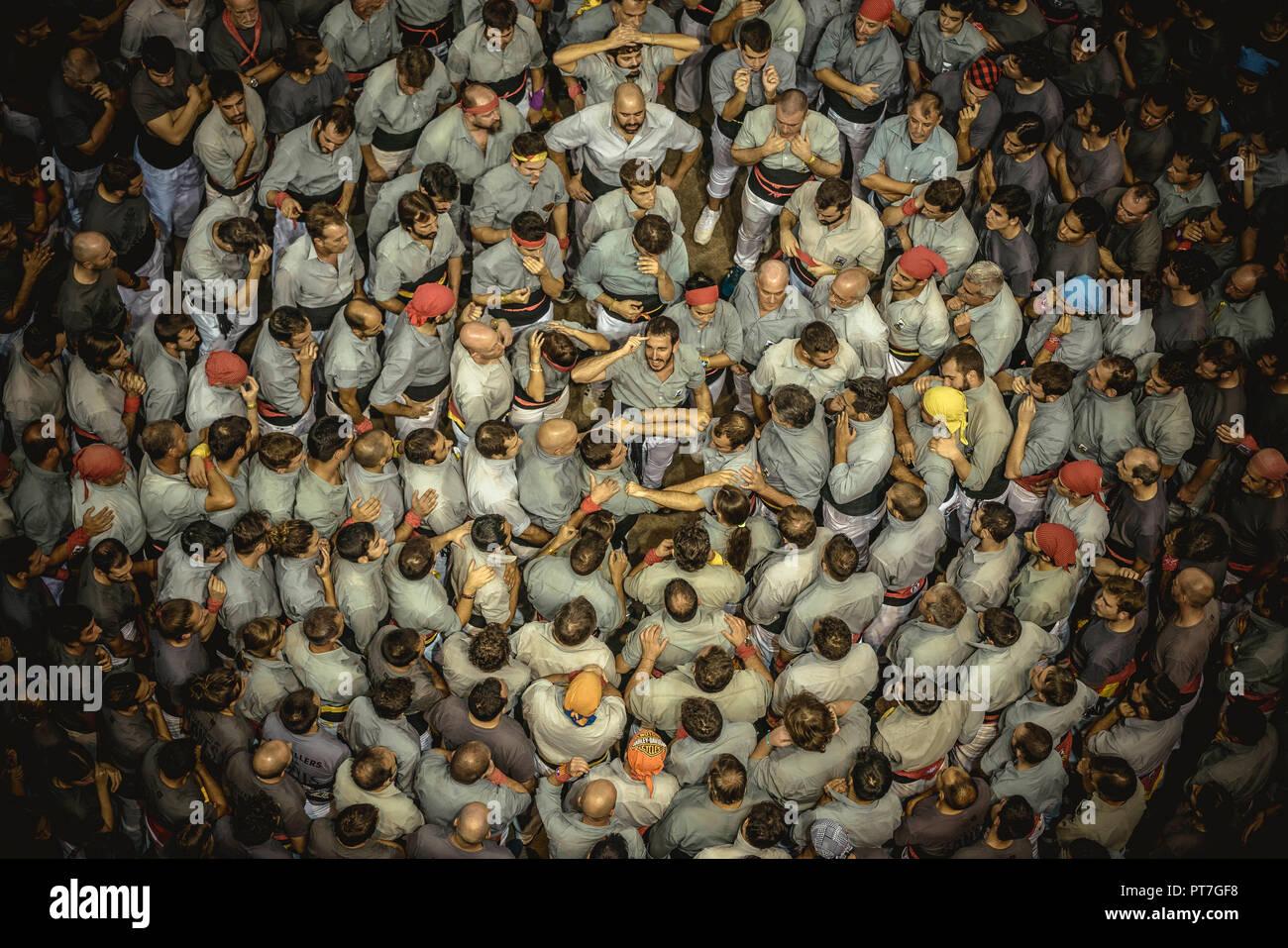 Barcelona, Spain  7th Oct 2018  The 'Castellers de Sants' gather to