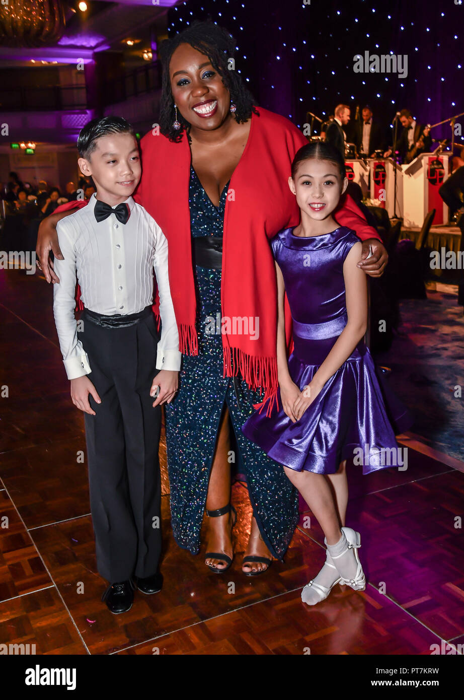 London, UK. 7th Oct 2018. Chizzy Akudolu and dances  at the Paul Killick - Killick Royale Championships 2018 at The Grosvenor House Hotel, London, UK. 7 October 2018. Credit: Picture Capital/Alamy Live News Stock Photo