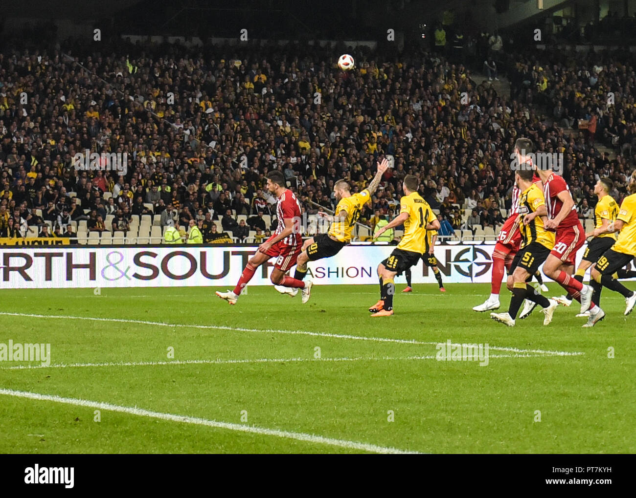 Athens, Greece, Greece. 7th Oct, 2018. Olympiakos' Ahmed Hassan seen in action during their Greek Super League soccer match at Olympic stadium. Credit: Dimitris Lampropoulos/SOPA Images/ZUMA Wire/Alamy Live News - Stock Image