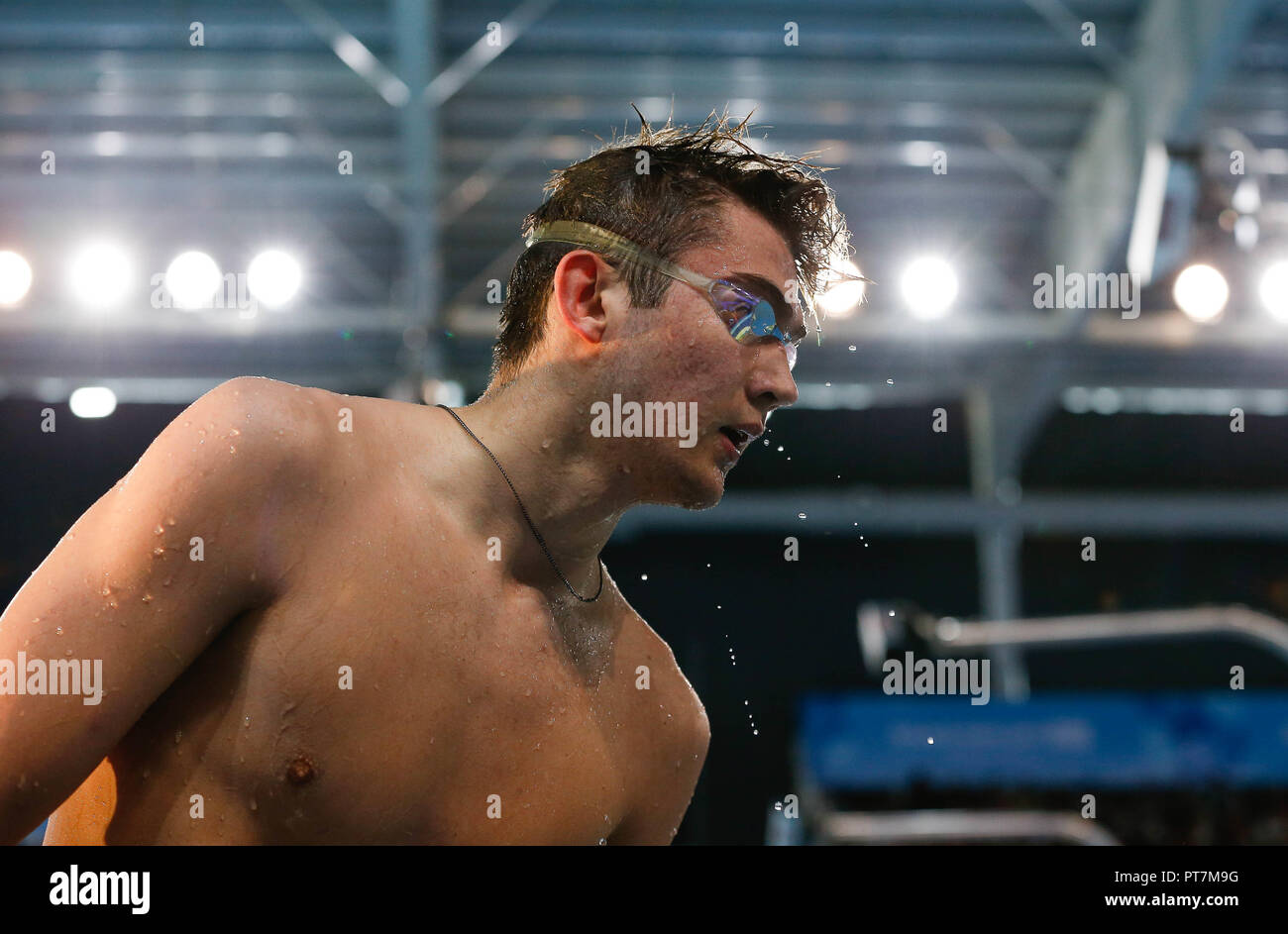 Buenos Aires, Argentina. 07th Oct, 2018. Russian KOLESNIKOV Kliment during semifinal of the 100m backstroke of the Youth Olympic Games Buenos Aires 2018 in the Natatorium of the Olympic Youth Park. Credit: Marcelo Machado de Melo/FotoArena/Alamy Live News - Stock Image