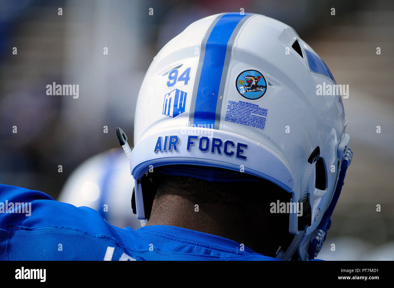 October 6 2018 An Air Force Lightning Bolt Helmet Prior To The