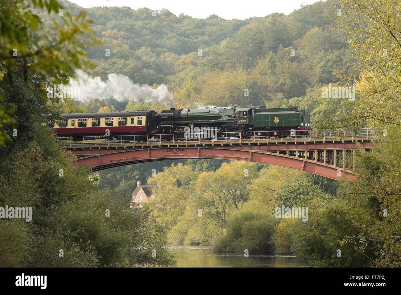 A BR Standard Class 7 70000 Britannia steam train travels