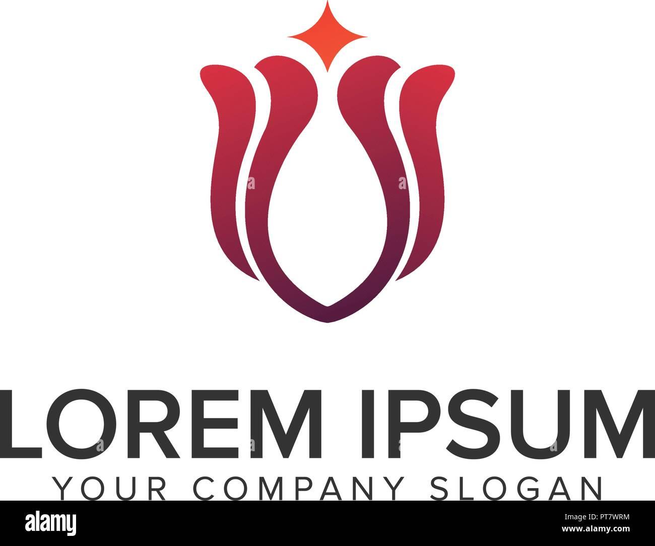 abstract lily logo design concept template stock vector art