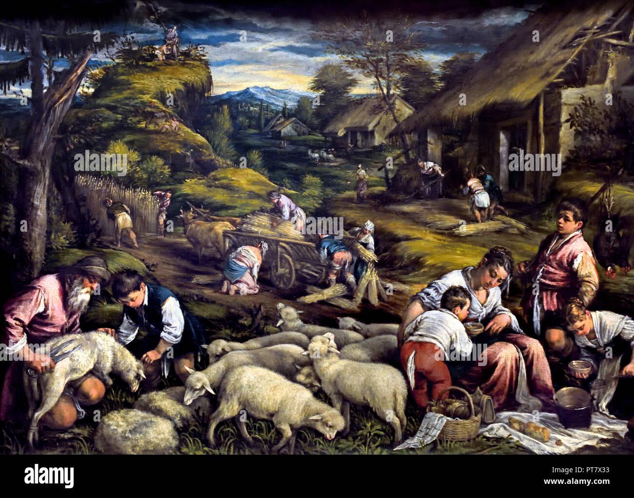 Summer (sacrifice of Isaac) 1576 Francesco da Ponte, called, Francesco Bassano, (1549 - 1592 ) , Italy, Italian. ( God asks Abraham to sacrifice his son, Isaac, on Moriah ) - Stock Image