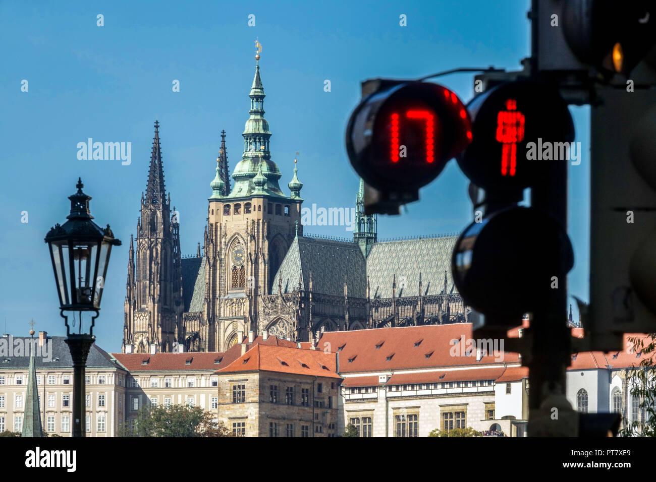 Prague Castle view and pedestrian traffic light timer, Prague, Czech Republic - Stock Image