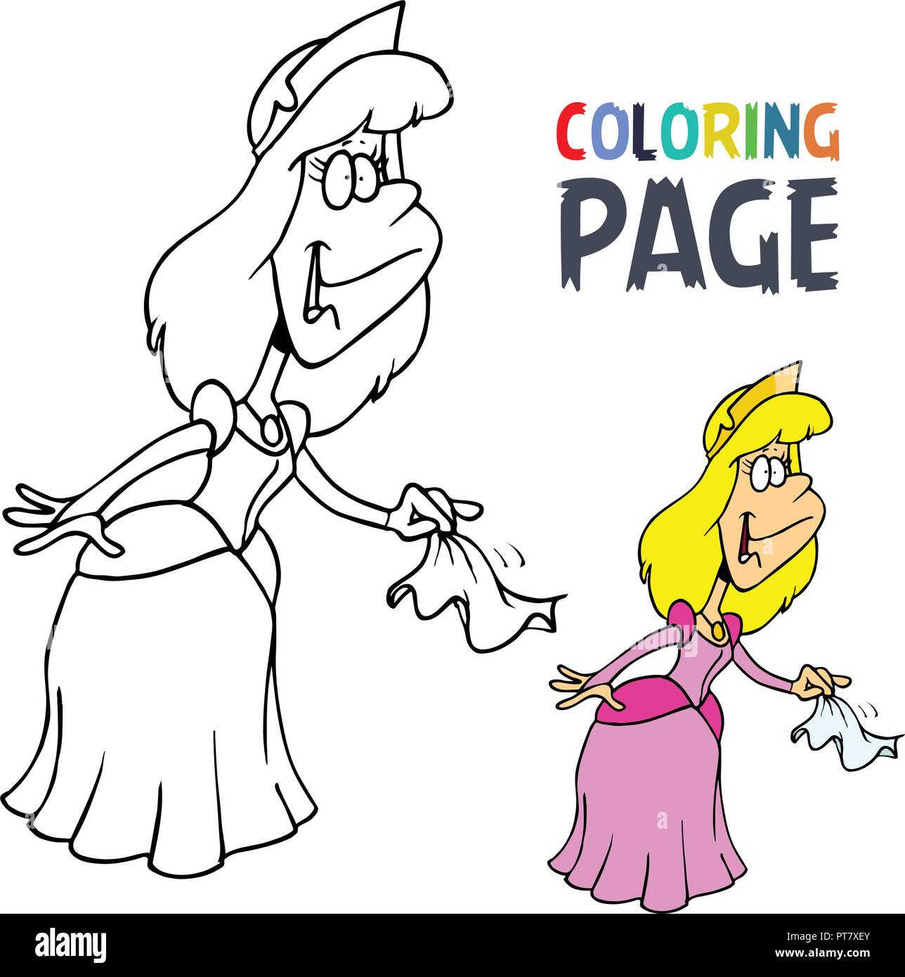 Princess Cartoon Coloring Page Stock Vector Art Illustration