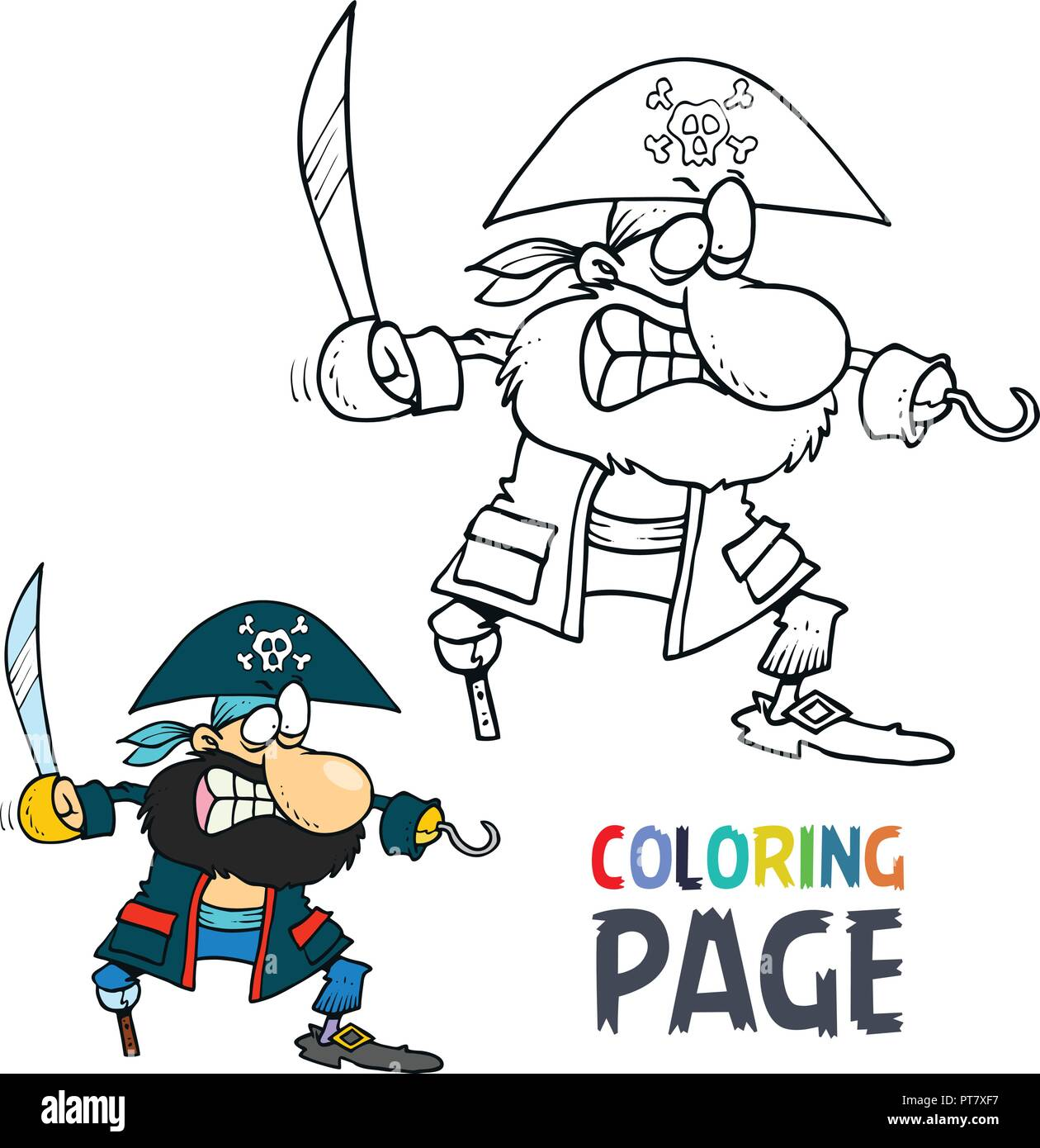 Pirate cartoon coloring page stock vector art illustration vector