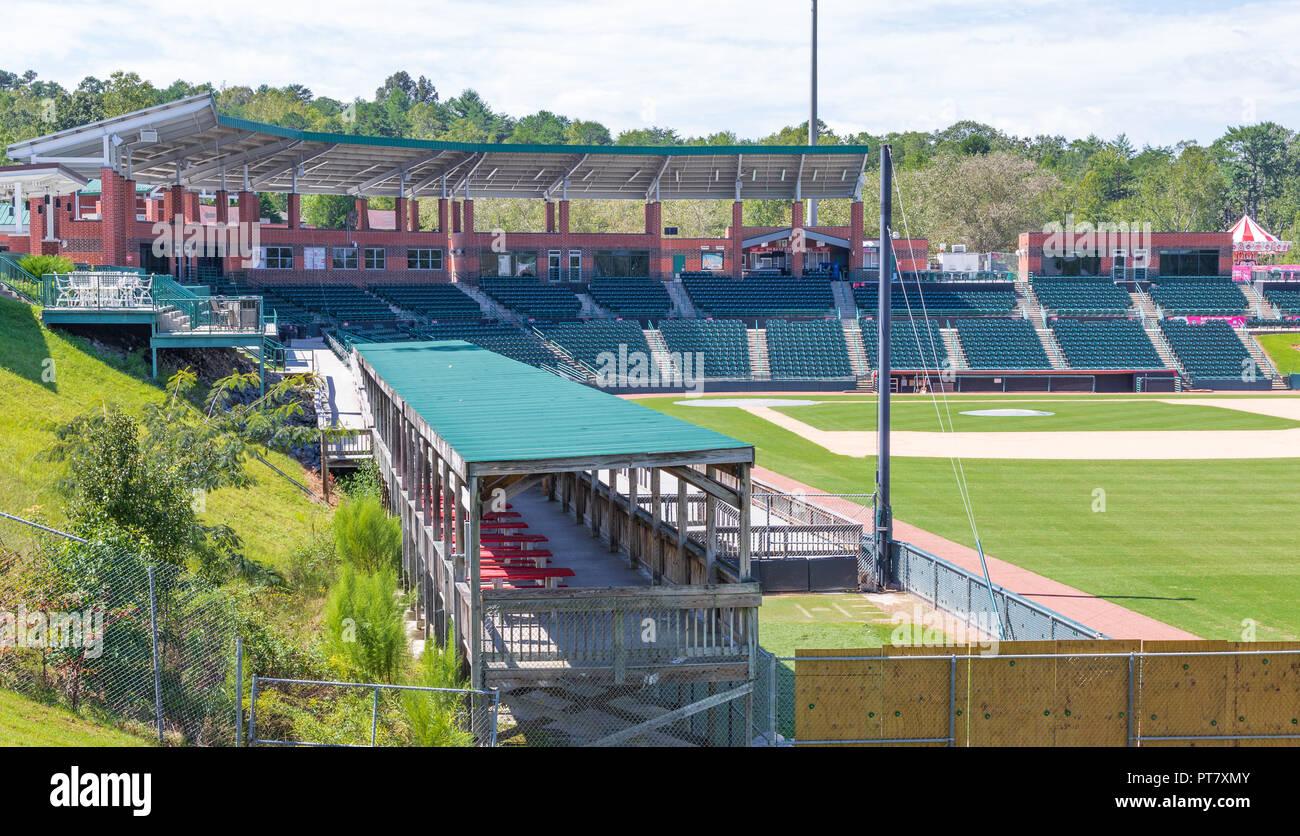 HICKORY, NORTH CAROLINA, USA- The Winkler Baseball Stadium, home of the Hickory Crawdads minor league baseball team, showing stadium seating. Stock Photo