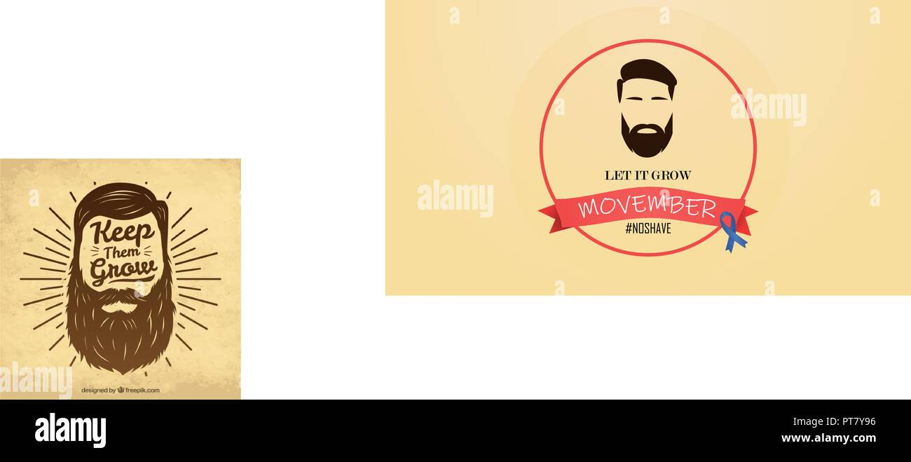 Movember - Prostate Cancer and Man Health Issues Awareness Month. Man Face with Beard and Mustache or Moustache. - Stock Vector