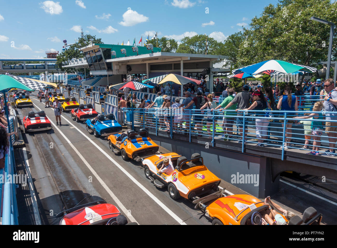 Tomorrowland Speedway Attraction in Magic Kingdom Theme Park, Walt Disney World, Orlando, Florida. - Stock Image