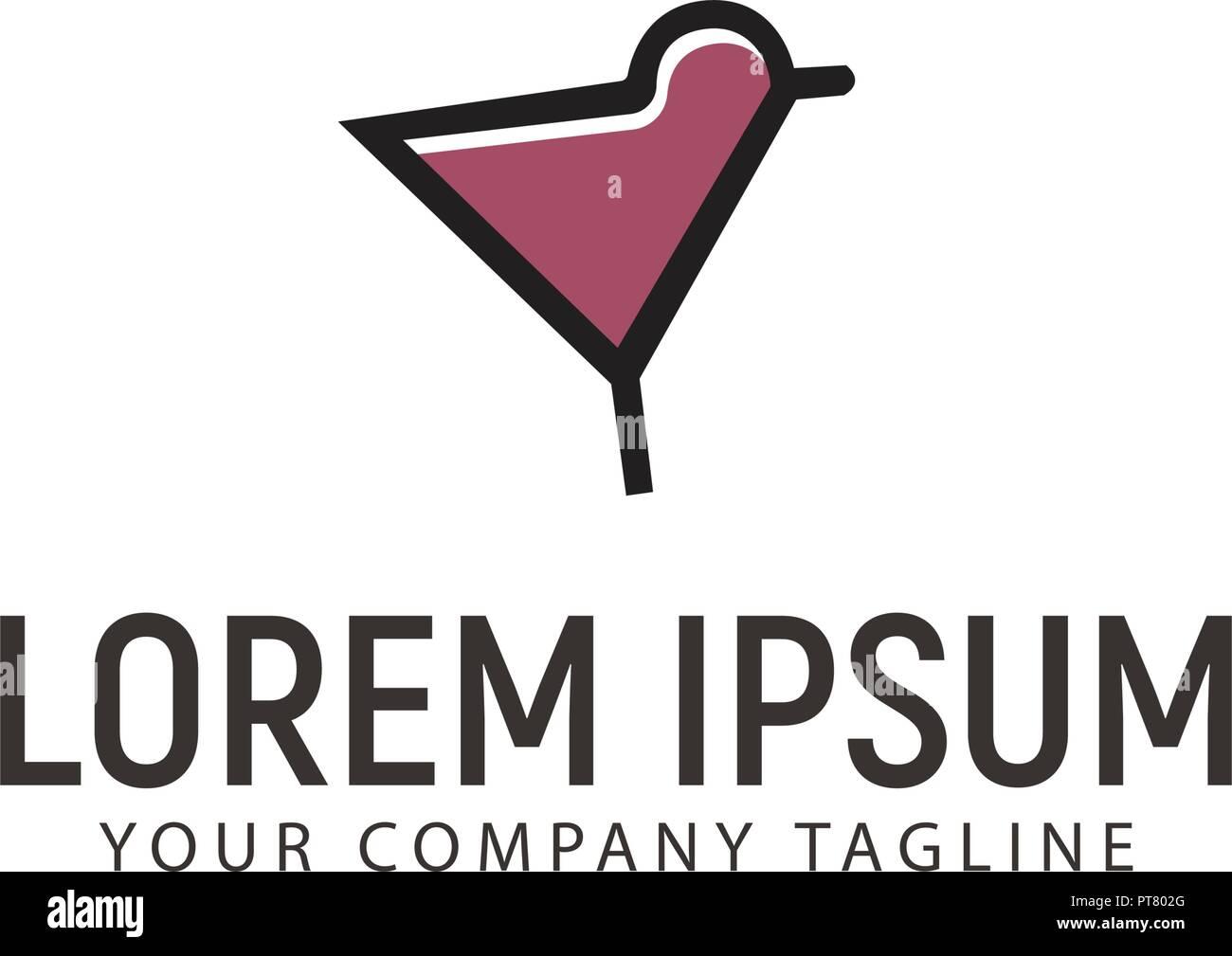 cocktail bird logo design concept template stock vector art