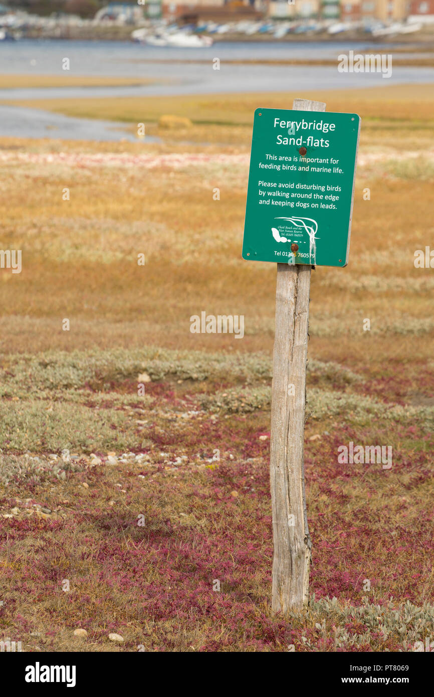 A sign near Ferrybridge at the Eastern end of The Fleet Lagoon behind Chesil Beach requesting that visitors keep their dogs under control and avoid di - Stock Image