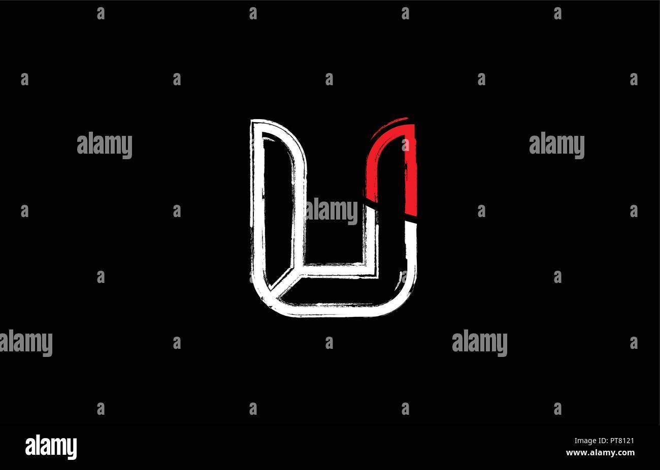 Grunge Alphabet Letter U Logo Design In White Red And Black