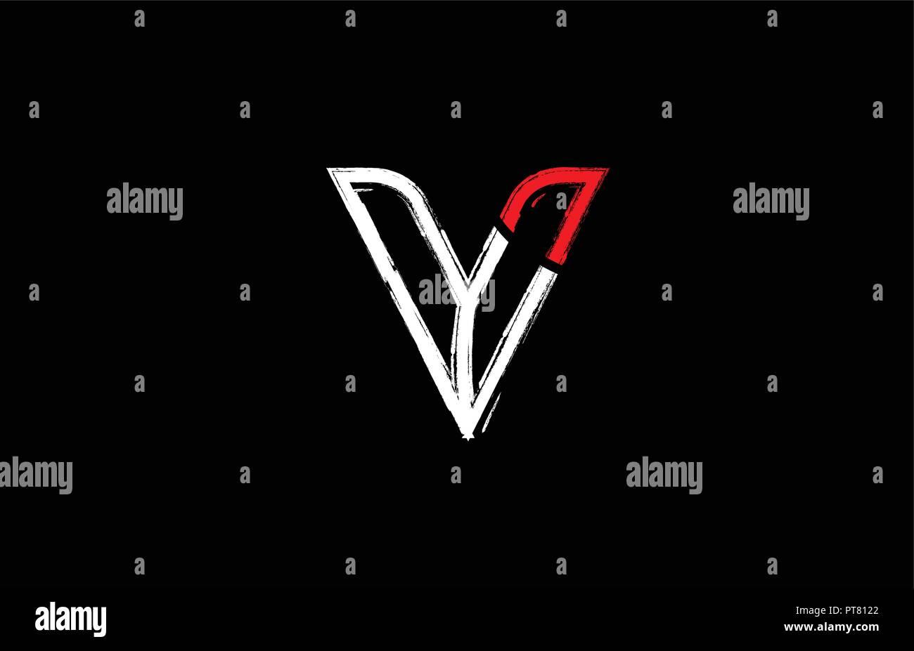 Grunge Alphabet Letter V Logo Design In White Red And Black Colors