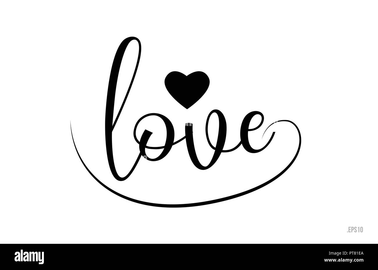 Love Word Text With Black And White Love Heart Suitable For Card Brochure Or Typography Logo Design