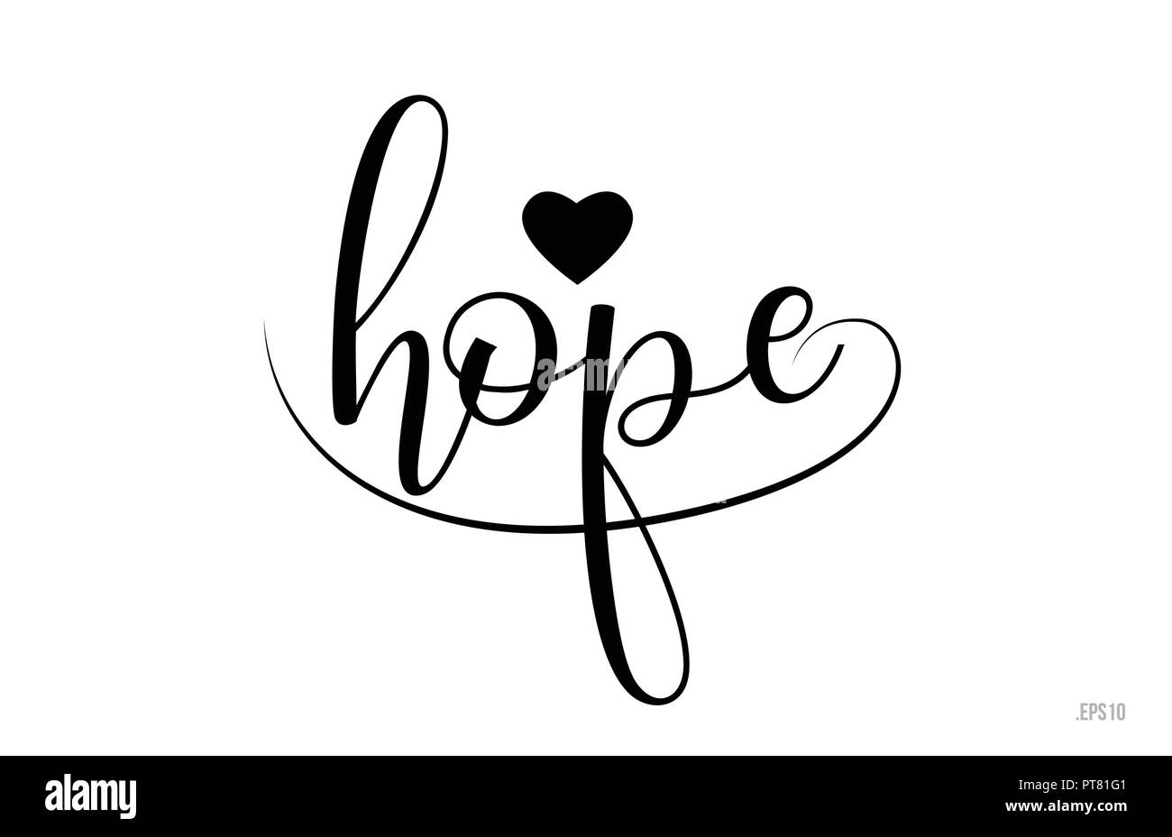 Hope Word Text With Black And White Love Heart Suitable For Card Brochure Or Typography Logo Design
