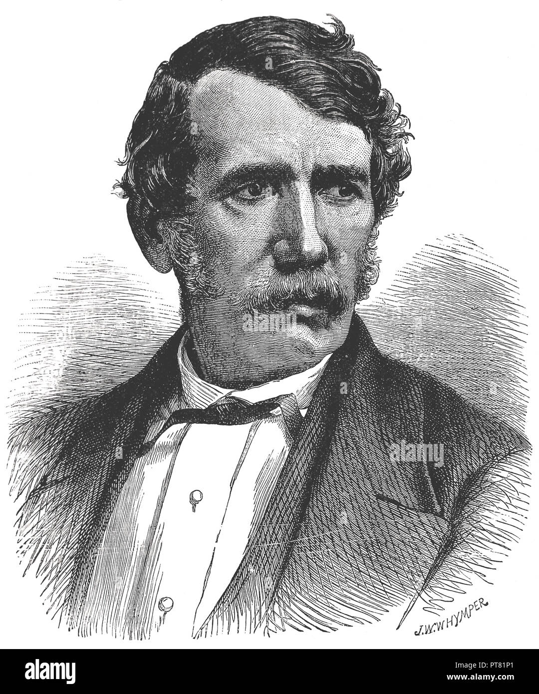 David Livingstone (1813-1873). Engraving. Missionary, physician and explorer of African territories. - Stock Image