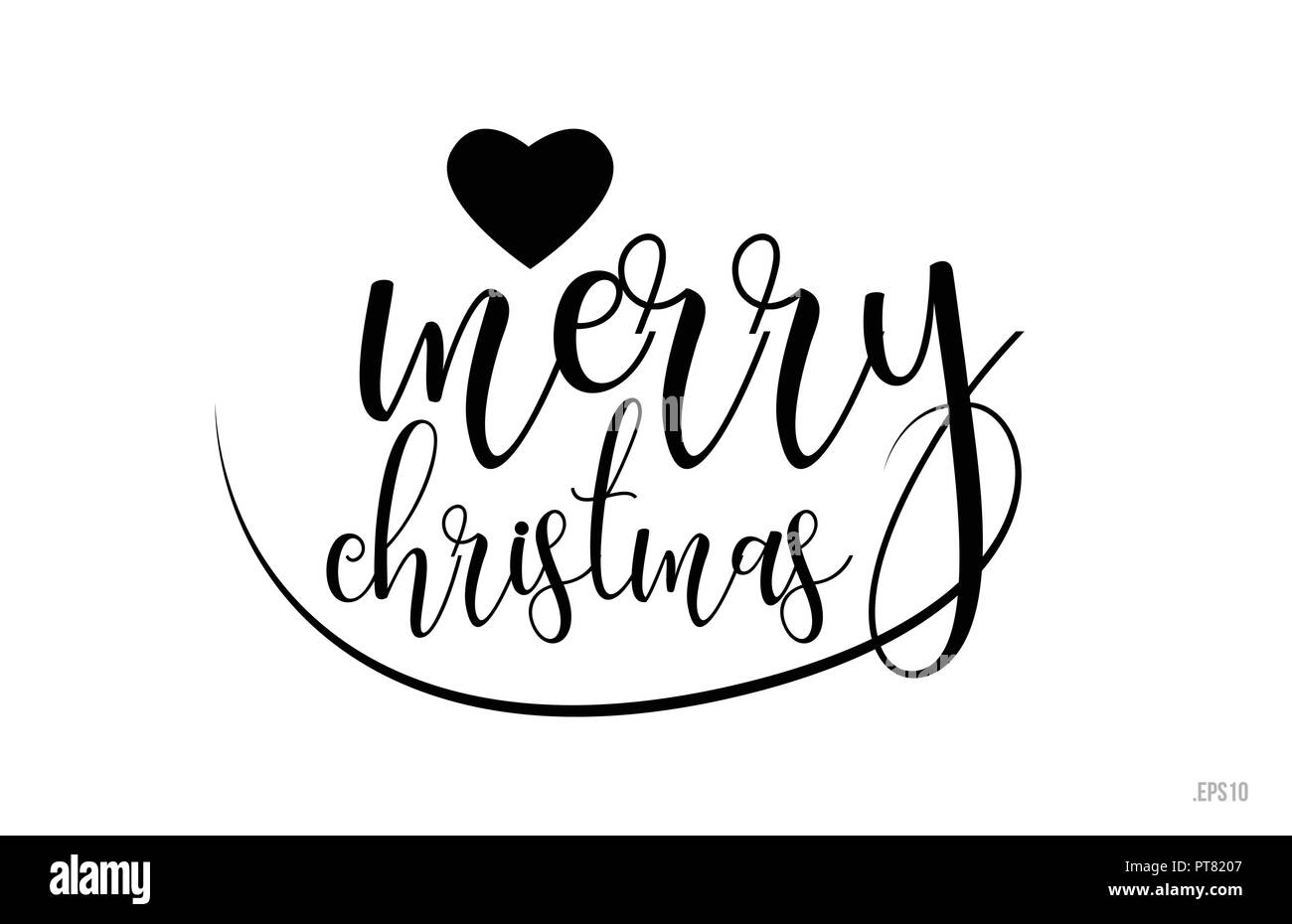 Merry Christmas Word Text With Black And White Love Heart