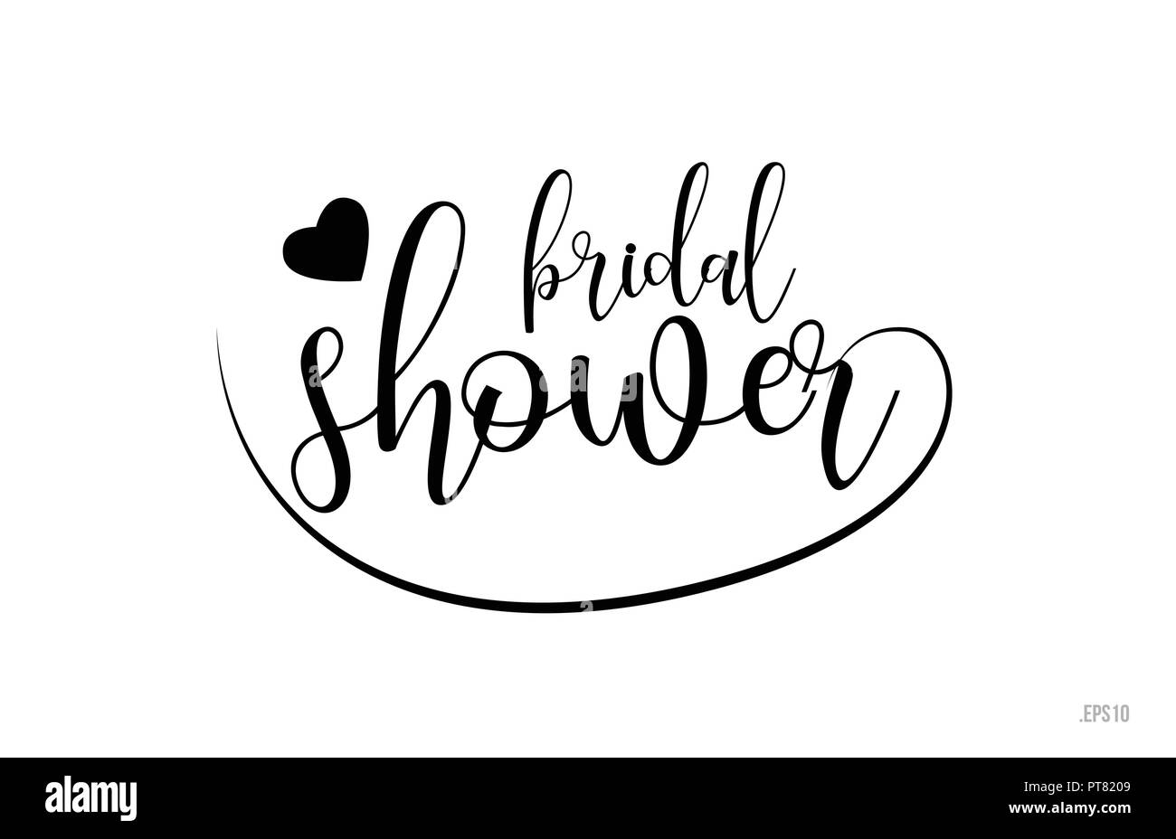 Bridal shower word text with black and white love heart suitable for card brochure or typography logo design