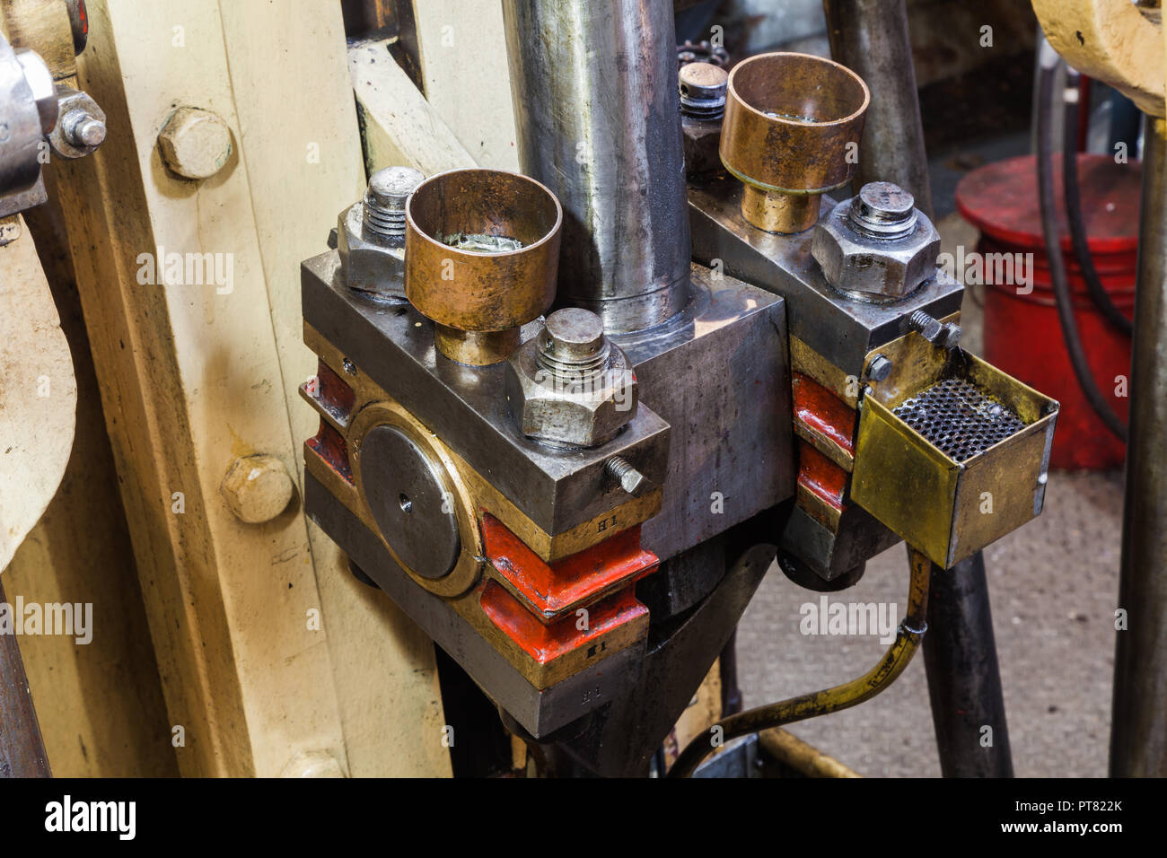 Engine Room detail of the steam powered SS Master tugboat - Stock Image