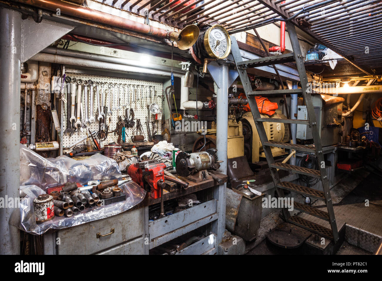 Maintenance workshop in the engine room of the steam powered