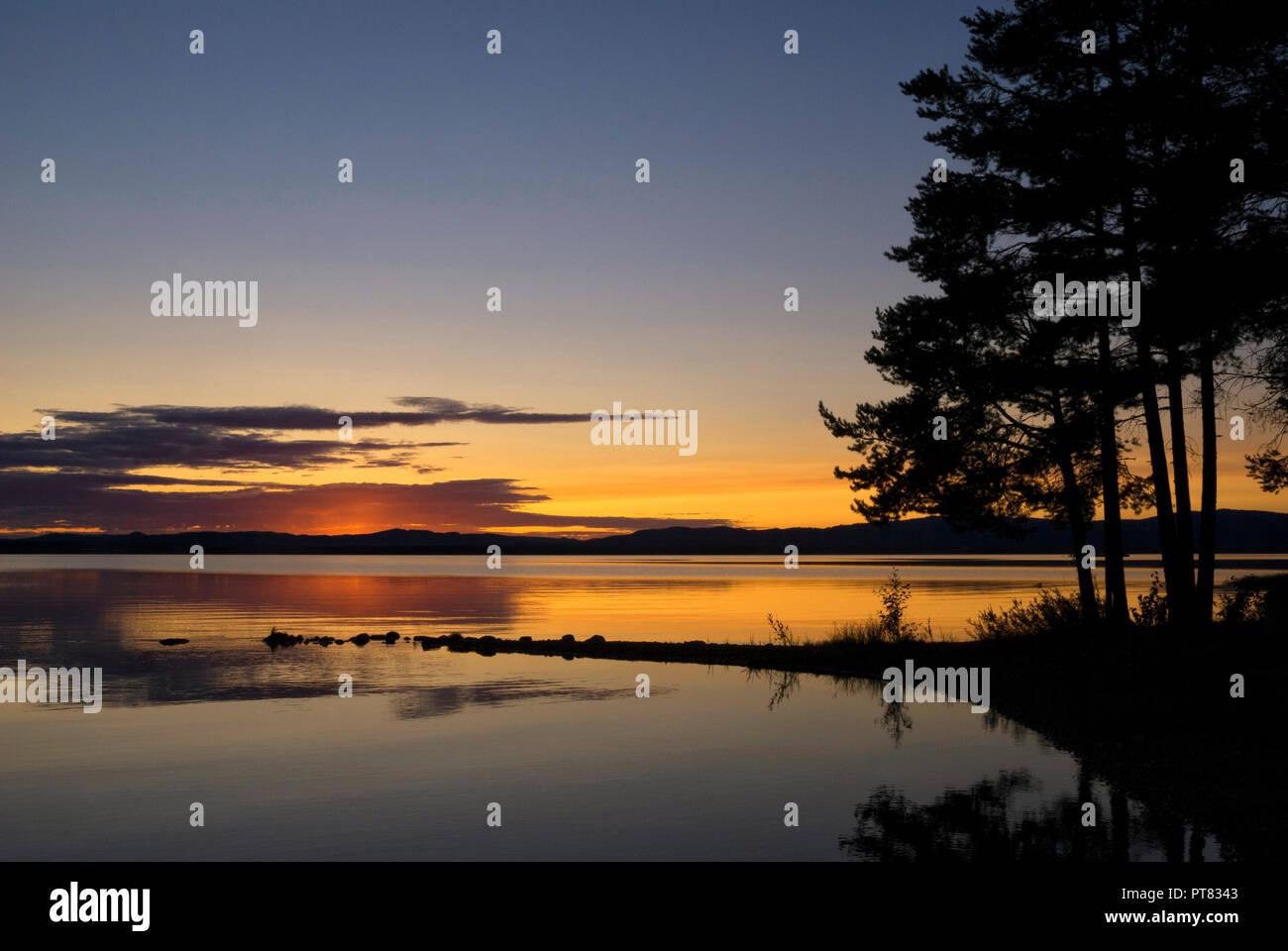Susnset at lake Orsa - Stock Image