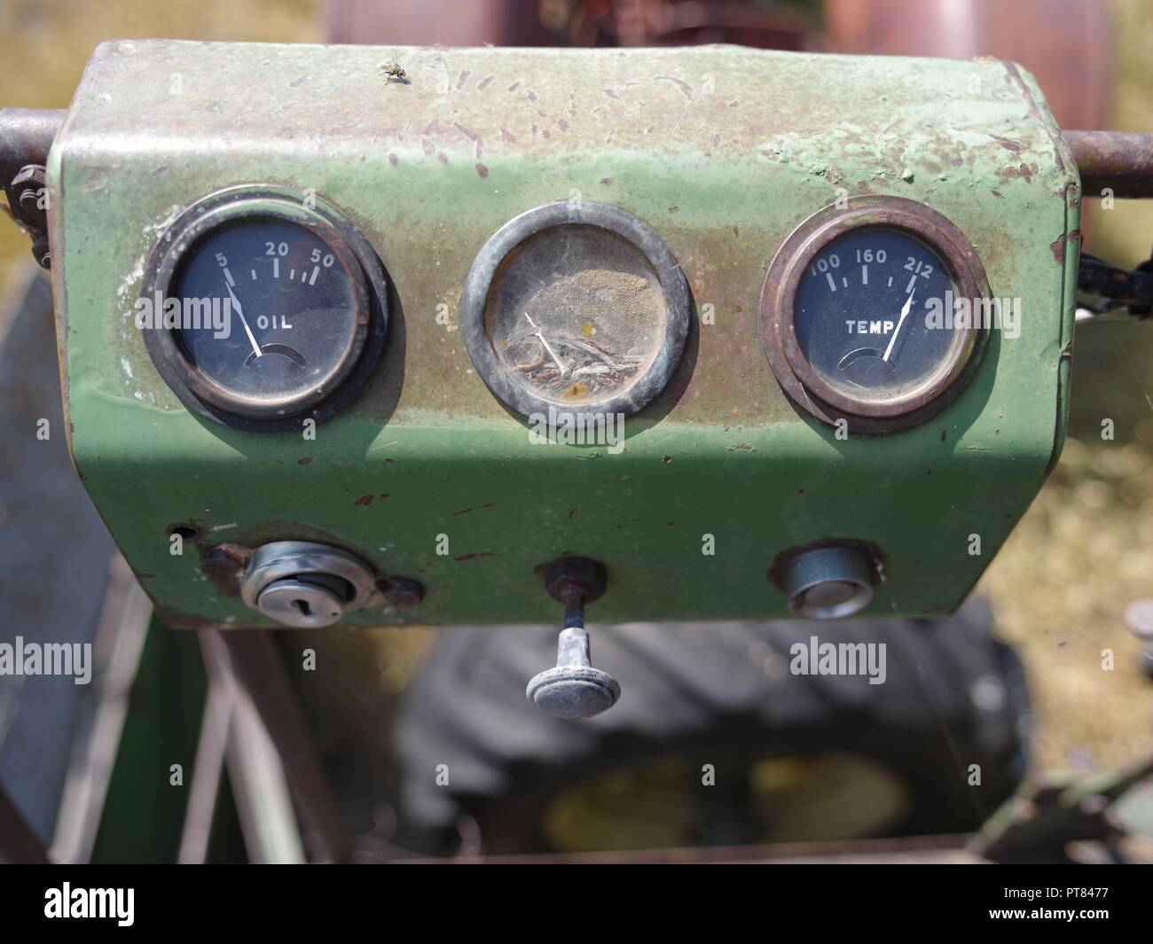 Instrument panel detail, farm equipment, Brian Martin RMSF, large file size - Stock Image