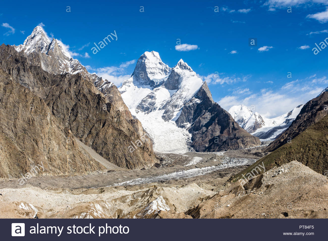 Muztagh Tower, Biange I & II peaks and Biange Glacier, Muztagh Baltoro region, Karakoram mountain range, Gilgit-Balistan, Pakistan - Stock Image