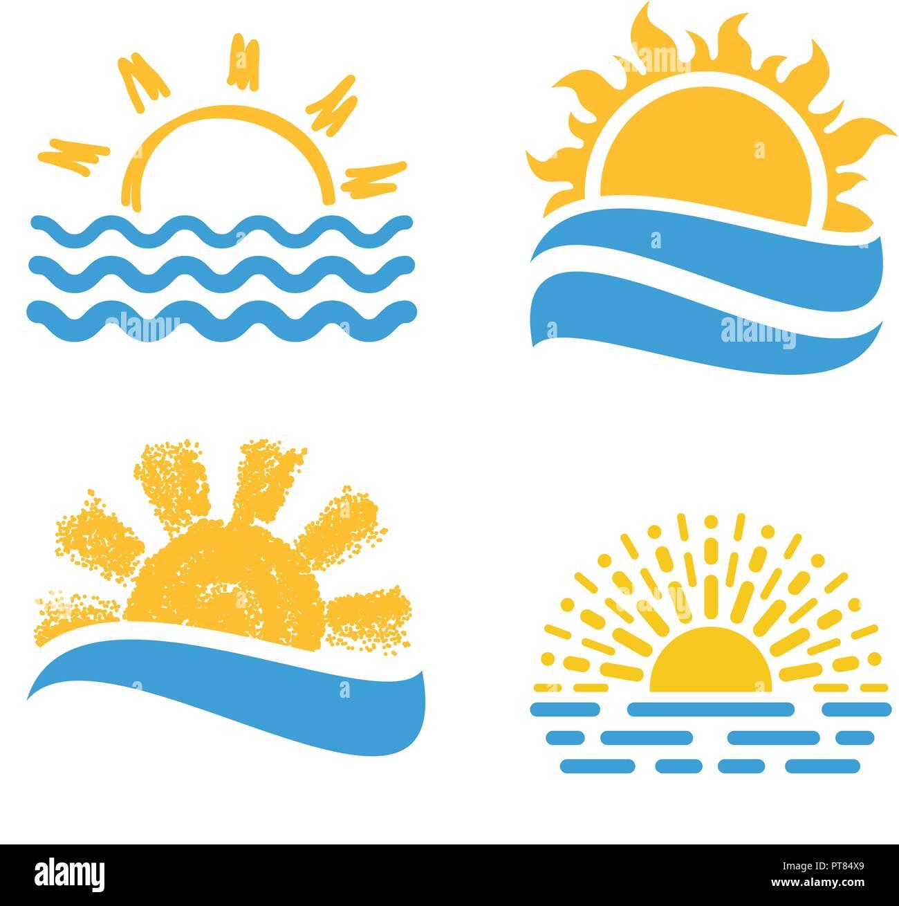 Sun Sets in the Sea Clip Art