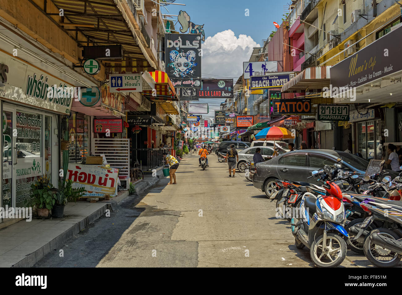PATTAYA,THAILAND - APRIL 20,2018: Soi 6 In this street are many bars