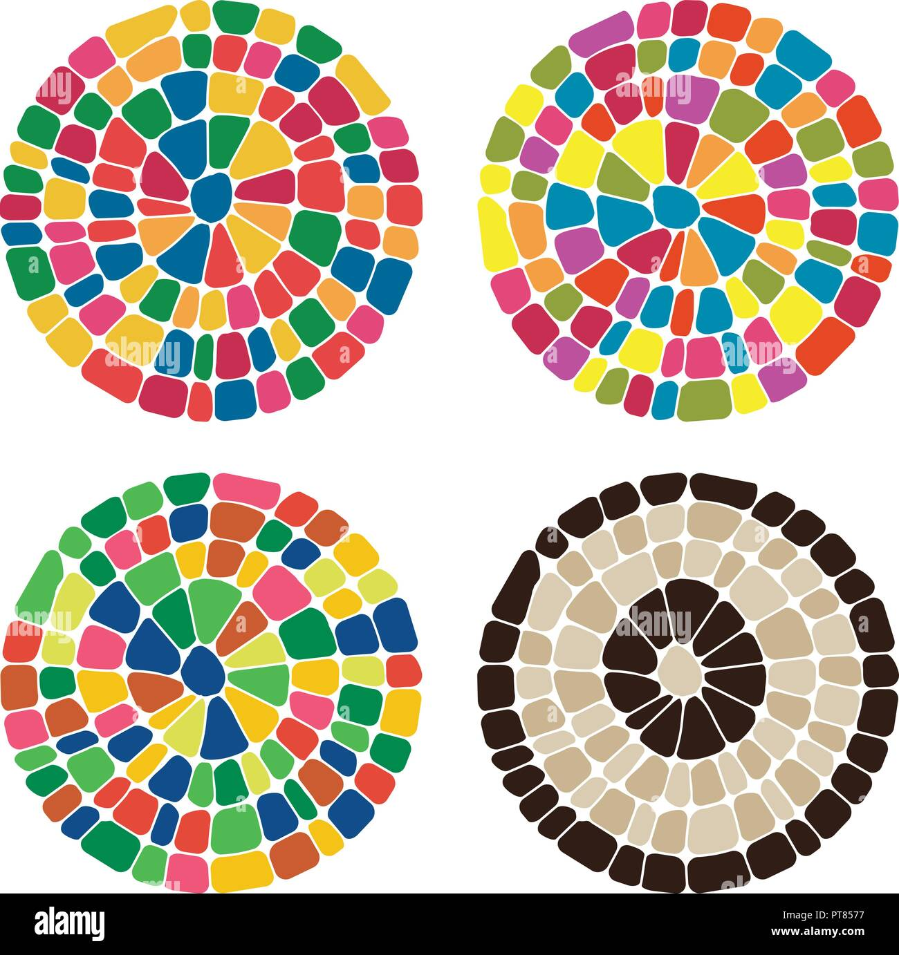 vector abstract colorful mosaic round patterns. set of pebble stone mosaic circle backgrounds, rainbow colors Stock Vector