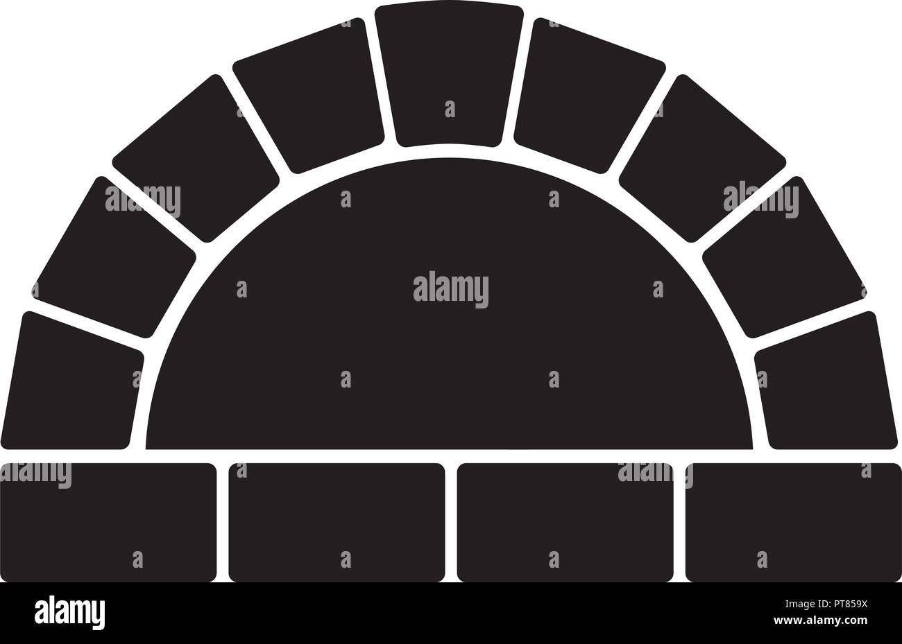 vector black and white illustration of oven with no fire. stone oven graphic design - Stock Vector