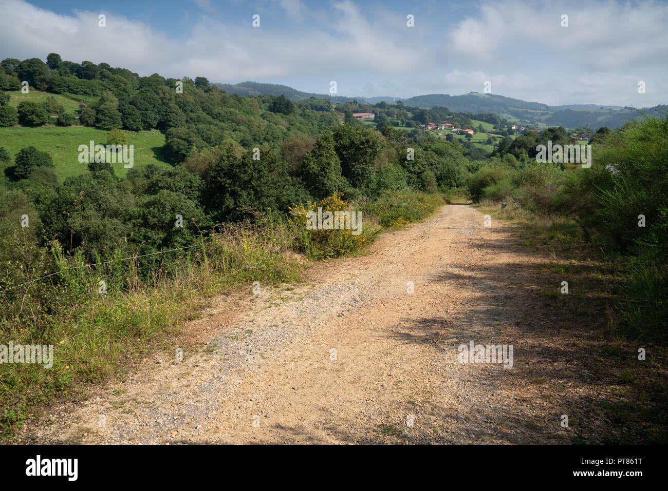 Camino de Santiago trail between Salas and Tineo, Asturias, Spain - Stock Image